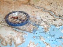 Mapa e compasso Fotografia de Stock