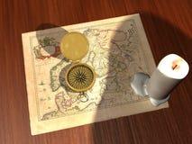 Mapa e compasso ilustração stock
