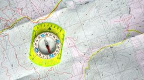 Mapa e compasso Imagem de Stock Royalty Free