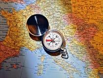 Mapa e compasso Foto de Stock Royalty Free