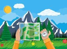 Mapa e compasso de papel dobrados da cidade nas mãos ilustração royalty free