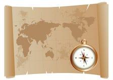 Mapa e compasso velhos Fotografia de Stock