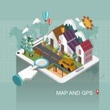 Mapa e conceito de GPS Imagem de Stock