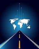 Mapa e estrada de mundo Imagens de Stock Royalty Free