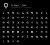 Mapa e icono de la web de GPS fijado para el fondo negro libre illustration