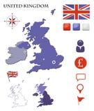 Mapa e iconos de Reino Unido fijados Foto de archivo