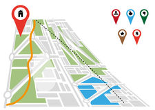 Mapa e indicadores Fotos de archivo