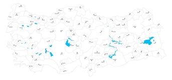 Mapa e lagos políticos de Vectoral Turquia fotografia de stock