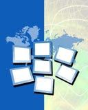 Mapa e monitores Imagem de Stock Royalty Free