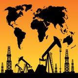 Mapa e plataforma petrolífera Fotos de Stock Royalty Free