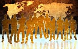 Mapa e povos de mundo Fotografia de Stock