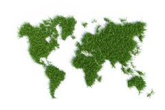 Mapa ecológico do mundo na grama verde Fotografia de Stock Royalty Free
