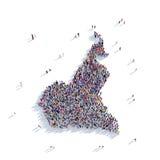 Mapa el Camerún de la forma del grupo de la gente Foto de archivo