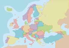 Mapa en blanco político de Europa con colores y fronteras para cada país stock de ilustración