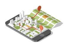 Mapa en la aplicación móvil Fotografía de archivo libre de regalías