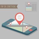 Mapa en smartphone Imágenes de archivo libres de regalías
