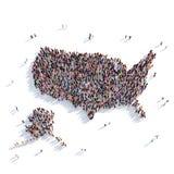 Mapa Estados Unidos de la forma del grupo de la gente Imagen de archivo