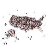 Mapa Estados Unidos de la forma del grupo de la gente Imágenes de archivo libres de regalías