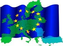 mapa eu flagę Zdjęcie Royalty Free