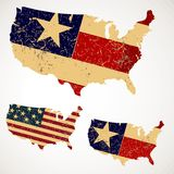 Mapa EUA do vintage feito de um Estados Unidos da bandeira Imagem de Stock Royalty Free
