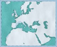 Mapa Europa i morze śródziemnomorskie, Afryka i Środkowy Wschód kartografia, geographical atlant ilustracji