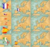 Mapa Europa - lato styl ustawia 1 Zdjęcia Stock