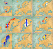 Mapa Europa - lato styl ustawia 4 Zdjęcia Royalty Free