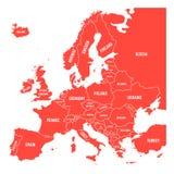 Mapa Europa z imionami suwerenne państwa, ministates zawierać Uproszczona czerwona wektorowa mapa na białym tle Obrazy Royalty Free
