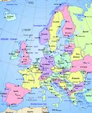 Mapa Europe kontynent Fotografia Royalty Free