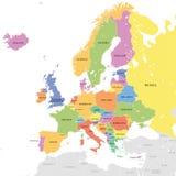 Mapa europeo coloreado vector stock de ilustración