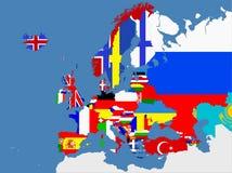 Mapa europeu com beiras do país Imagens de Stock Royalty Free