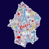 Mapa exhausto de la mano de París en estilo del garabato ilustración del vector