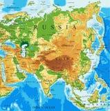 Mapa físico de Asia Imagenes de archivo