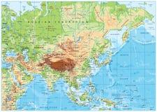 Mapa físico de Asia Fotos de archivo libres de regalías