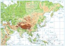 Mapa físico de Asia aislado en blanco Fotografía de archivo libre de regalías