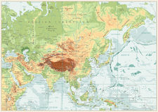 Mapa físico de Asia con los ríos, los lagos y las elevaciones Imágenes de archivo libres de regalías
