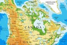 Mapa físico de Canadá Foto de Stock Royalty Free