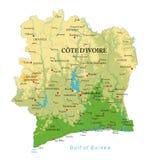 Mapa físico de Cote d 'Ivoire libre illustration