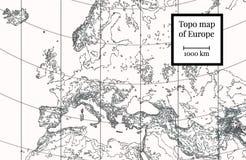 Mapa físico de Europa Ilustração altamente detalhada ilustração royalty free