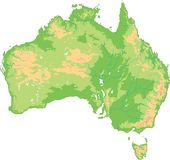 Mapa físico detalhado alto de Austrália ilustração royalty free