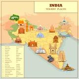 Mapa famoso del lugar de la atracción turística de la India stock de ilustración
