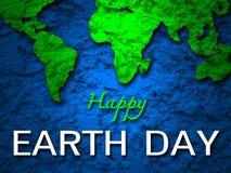 Mapa feliz de la tierra verde de la bandera del Día de la Tierra Fotos de archivo