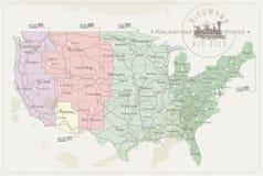 Mapa ferroviario de Estados Unidos imagen de archivo libre de regalías