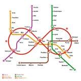 Mapa ficticio del metro en la forma del infinito Imagenes de archivo