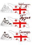 Mapa, flaga Gruzja, Mtskheta Obraz Royalty Free