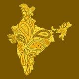 Mapa floral de la India Foto de archivo libre de regalías