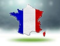 Mapa France projekt z trawy teksturą boisko do piłki nożnej Obrazy Stock