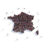 Mapa Francia de la forma del grupo de la gente Ilustración del Vector
