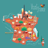 Mapa Francja wektorowa ilustracja, projekt Zdjęcie Stock