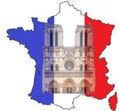 Mapa Francja z Notre Damae flagą państowową i katedrą royalty ilustracja